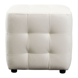 "Diamond Sofa - Zen Bonded Leather Tufted Cube Accent Ottoman in White - The Zen Cube White Tufted Ottoman by Diamond Sofa is a functional accent that completes the look of any room. This small ottoman provides convenient, mobile additional seating while complimenting the look of the room. Finished in a tufted bonded leather with espresso wood feet, it provides the perfect accent to your decor. Wrapped in polydacron for long-term durability, this piece will provide years of use and enjoyment.; Bonded Leather Cubed Ottoman; Available in Four Colors; Provides Space Conscious Seating or Convenient Footrest; Tufted on all sides; Espresso Wood Foot; Primary Material: Bonded Leather; Fabric Content: Polydacron, Polyester Fibers; Weight: 11 lbs; Dimensions: 18""L x 18""W x 18""H"
