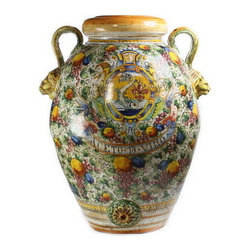 Artistica - Hand Made in Italy - MAJOLICA DELFINO: Large Tuscan Orcio-Urn with two handles and lion heads. - MAJOLICA DELFINO: