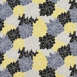 Black Grey and Yellow Contemporary Flowers Outdoor Upholstery Fabric By The Yard - This upholstery fabric suitable for indoor and outdoor applications. The fabric is water, soil, mildew and fading resistant. It is also Scotchgarded for further protection. It is cleanable with warm water and soap. Uniquely Made in America!