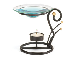 "Koehler Home Decor - Koehler Home Decor Black Wrought Iron Oil Warmer - Oil warmer offers sinuous curls of matte black wrought iron providing a striking counterpoint for a sparkling glass oil dish. Metal with glass cup. Tea light and oil not included. 5.75""x 4.62""x 5"" high.Metal with glass cup. Size: 5.75""x 4.62""x 5"" high."