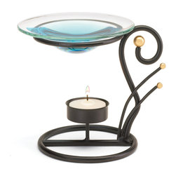 """Koehler Home Decor - Koehler Home Decor Black Wrought Iron Oil Warmer - Oil warmer offers sinuous curls of matte black wrought iron providing a striking counterpoint for a sparkling glass oil dish. Metal with glass cup. Tea light and oil not included. 5.75""""x 4.62""""x 5"""" high.Metal with glass cup. Size: 5.75""""x 4.62""""x 5"""" high."""