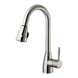 "Vigo - Vigo VG02014ST Stainless Steel Kitchen Faucets Kitchen Faucet Single - Kitchen Faucet Single Handle with Pull-Out Spray 16"" Height  Make your kitchen ""pop"" with this functional Vigo faucet.  Vigo Vg02014 Includes:    Pullout spray kitchen faucet  All mounting hardware  Hot and cold water lines    Vigo Vg02014 Faucet Features:    Solid brass construction which ensures durability and longer life  Spiral pull-down spray head for powerful spray with aerated flow  Easy to clean pullout spray face  Unique finishing process resists corrosion and tarnishing, exceeding industry durability standards  High-quality ceramic disc cartridge ensures maintenance-free use  360-degree swivel spout  Retractable spout expandable up to 30""  Single-hole installation  Single lever water and temperature control  Water pressure tested for industry standard  2.2 GPM flow rate  Limited Lifetime Warranty    Vigo Vg02014 Faucet Specifications:    Spout height: 16""  Spout reach: 8.5""  2.2 GPM Flow Rate    Vigo Vg02014 Faucet Certifications:    UPC, cUPC, CSA, IAPMO, ANSI and SCC Listed  ADA Compliant  Alternate Configurations of the Vg02014:    Vg02014K1: This model includes matching deck plate  Vg02014K2: This model includes matching soap dispenser  Kitchen Combos: For Vigo kitchen sink and faucet combos that include this kitchen faucet search: Vg02014 Combos"