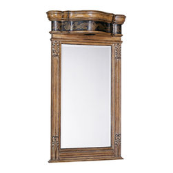 Winslow Lighted Bathroom Mirror - The Winslow Small Lighted Mirror was designed for the Winslow Petite Vanity, but it is perfect for any bathroom with an antique design. The accent light on top illuminates the rich mahogany solids as well as your bathroom.