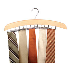 Richards Homewares - Richards Homewares Natural Hardwood 24-tie Hanger - Store and organize your neckties right alongside your suits and shirts with this wood tie hanger from Richards Homewares. This stylish tie organizer features a contemporary design and sturdy swivel hook that hangs right on your closet rod.