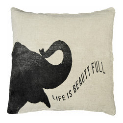 Kathy Kuo Home - Life Is Beauty Baby Elephant Linen Down Throw Pillow - Trumpet your proclamation for all to see with this plush pachyderm pillow. The playful design is created by a Georgia artist, then hand-printed on linen. It's a great way to add fun and handmade style to your room.