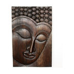 Kammika - Buddha Panel Serene Sust Wood 24  inch x 36 H w Eco Friendly Livos Mocha Oil Fin - This beautiful Buddha Panel Serene 24 inch length x 36 inch height x approximately 5 inch thickness, including the approximately 3 inch protruding nose, Sustainable Monkey Pod wood in Eco Friendly, Natural Livos Mocha Oil Finish Wall Panel presents a Buddha peaceful countenance gazing down from the magnificent, stately resource of wood. Now you can discover the calming, inspiring effect of Buddha in the Serene stage when you display this wall panel that has been carved from joining panels. Our wall panels are exquisite expressions of beauty that could become the centerpiece of any room they grace. Each of the panels has two embedded flush mount Keyhole hangers for a protruding screw from your wall. Hand carved in Thailand, these are made of sustainable wood grown specifically for the woodcarving industry. They are rubbed in eco friendly Livos Mocha Oil Finish comprised of translucent Livos Black Oil over rich Livos Chestnut Oil creating a dark Mocha water resistant and food safe finish, where the wood color and grain shows through in dark brown and mocha tones .These natural oils are translucent, so the wood grain detail is highlighted. Polished to a matte finish, there is no oily feel and cannot bleed into carpets. We make minimal use of electric hand sanders in the finishing process. All products are dried in solar or propane kilns. No chemicals are used in the process, ever. After each piece is carved, dried, sanded, and hand rubbed with Livos Mocha oil, they are packaged with cartons from recycled cardboard with no plastic or other fillers. The color and grain of your piece of Nature will be unique, and may include small checks or cracks that occur when the wood is dried. Sizes are approximate. Products could have visible marks from tools used, patches from small repairs, knot holes, natural inclusions or holes. There may be various separations or cracks on your piece wh