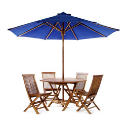 All Things Cedar - Teak Octagon Table Set - Blue - This patio set is constructed of solid Teak using mortise and tennon joinery. The table is offered in a 48 inch round or octagon shape and has 1-7/8 inch umbrella hole with lower pole stabilizer to accept our Teak Market Umbrella or any other similar umbrella. A solid brass gromet and cap are also provided to plug the umbrella hole when not in use. The chairs are egronomically designed with a slight wave to the seat and a comfortable recline to the back.  Shown here in blue our Market Umbrella is made from premium solid Teak that won't warp or rot like other wood might. The additional crown of fabric at the top is called a wind vent. This unique design allows for wind gusts to escape through the vent, thus making it a very stable umbrella to own. Our Market Umbrella comes with a  solid 1-7/8 inch teak pole,  extra duty 8-spoke ribbed cage and a generous 10 foot vented canopy making it ideal for the Beach, Cottage or any commercial or residential outdoor setting. Available in 3 colors: forest  green, white and nautical blue. Item is made to order.
