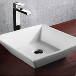 Caracalla - Square White Ceramic Vessel Bathroom Sink - Contemporary design, square white ceramic vessel bathroom Sink with no hole. Stylish above counter washbasin comes without overflow. Made in Italy by Caracalla. Made out of white ceramic. Contemporary style. Without overflow. Standard drain size of 1.25 inches.