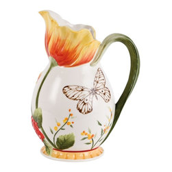 Fitz and Floyd - Fitz and Floyd Flower Market 74 oz. Pitcher - 29-947 - Shop for Pitchers from Hayneedle.com! Bright bursts of hand-painted color and intricate artisan-pressed surface patterns give the Fitz and Floyd Flower Market 74 oz. Pitcher an exceptionally detailed rustic beauty that stands out in any decor. The nature-inspired details of this large earthenware pitcher include a sepia-toned butterfly and a large Naples yellow and Sunset red parrot tulip that opens as a wide rippled spout.About Fitz and FloydFitz and Floyd is recognized worldwide as a leader amongst the style- and quality-conscious. For 50 years their unique designs have made them the leader in the purveyor of hand-painted ceramic dinnerware tableware accessories giftware and collectibles. All Fitz and Floyd pieces are easy to spot. Each piece is distinctively hand-crafted by artisans from the drawing board to the sculpting wheel and kiln.The company's Dallas-based studios are renowned for producing over 500 unique designs per year. Creations range from presidential dinnerware for the White House or a tea service for Her Majesty Queen Elizabeth II to the perfect centerpiece for your table and each design is lovingly crafted in the highest quality. Meticulous craftsmanship and exquisite detail make every Fitz and Floyd piece a treasured heirloom-quality gift.