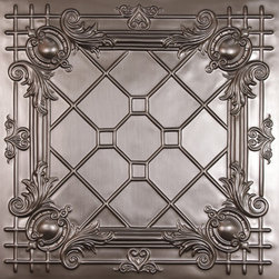 Bentley Faux Tin Ceiling Tiles - These terrific faux tin ceiling tiles can be used to replace acoustical tile in a dropped ceiling. They also have nail-up versions. Tiles come in a bunch of different patterns and a few different finishes. Bronze, copper,tin, and paintable white. 2ft. x 2ft.