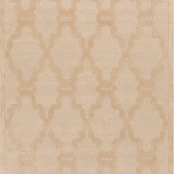 Chandler CHA4001 Rug - 2'x3' - The tone-on-tone rugs in the Chandler collection provide subtle but clear design. In shades of ivory, beige, and gray, this collection can add coziness and warmth to any space. These rugs are hand tufted from 100% wool, making them durable and comfortable.