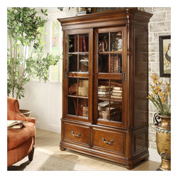 Riverside Furniture - Riverside Furniture Bristol Court Sliding Door Bookcase in Cognac Cherry - Riverside Furniture - Bookcases - 24537 - Riverside's products are designed and constructed for use in the home and are generally not intended for rental, commercial, institutional or other applications not considered to be household usage.