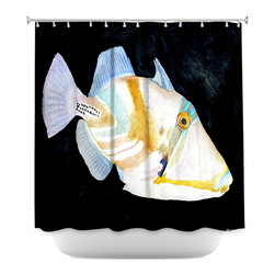 DiaNoche Designs - Shower Curtain Artistic - Deep Sea Life- Trigger Fish - DiaNoche Designs works with artists from around the world to bring unique, artistic products to decorate all aspects of your home.  Our designer Shower Curtains will be the talk of every guest to visit your bathroom!  Our Shower Curtains have Sewn reinforced holes for curtain rings, Shower Curtain Rings Not Included.  Dye Sublimation printing adheres the ink to the material for long life and durability. Machine Wash upon arrival for maximum softness on cold and dry low.  Printed in USA.