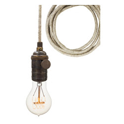 Hammers & Heels - Sweater Cloth Cord & Bronze Bare Bulb Pendant Light - These lights definitely aren't lacking personality, and suite any style. Mix our cloth cord metallics for a subtle edgy look or bring in a farmhouse feel with our rustic ship rope cord. These industrial reproduction vintage fixtures are perfect for clustering over a kitchen island or flanking a bedroom mirror.