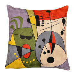 """Modern Wool - Miro Cushion Cover Musical Colors Hand Embroidered 18"""" x 18"""" - Miro Cushion Cover  Musical Colors modern abstract pillow - A veritable riot of color, this Kashmir wool handcrafted piece is designed in the style of modern abstract artist, Joan Miro. The hand embroidered piece of hand-dyed wool fully expresses the words of Miro himself, """"I try to apply colors like words that shape poems, like notes that shape music."""" The essence of poetry and music can be seen and felt in this work. Kashmiri artisans work together in a cottage industry, handcrafting the entire piece from the design, to the wool, to the beautiful chain-stitch embroidery, the finest in the world."""