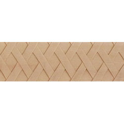 """Inviting Home - Joliet Basket Weave Panel Molding - cherry wood - Joliet panel molding hand-carved from solid cherry hardwood with basket weave design 1""""H x 1/2""""P x 8'00""""L sold in 8 foot length 3 piece minimum order required Hand Carved Wood Molding specification: Outstanding quality molding profile milled from high grade kiln dried American hardwood available in bass hard maple red oak and cherry. High relief ornamental design is hand carved into the molding. Wood molding is sold unfinished and can be easily stained painted or glazed. The installation of the wood molding should be treated the same manner as you would treat any wood molding: all molding should be kept in a clean and dry environment away from excessive moisture. acclimate wooden moldings for 5-7 days. when installing wood moldings it is recommended to nail molding securely to studs; pre-drill when necessary and glue all mitered corners for maximum support."""
