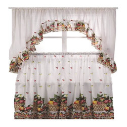 Kashi Home - Fruit Basket Printed Kitchen Curtain Swag Set - Brighten up your kitchen with these printed kitchen curtain sets