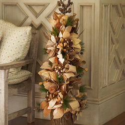 "Horchow - 50"" Chocolate, Copper, and Gold Tree - Exclusively ours. An elegant arrangement in lush shades of chocolate, copper, and gold, this shapely tree adds rich color instantly to holiday decor. Handcrafted of leaves, pine cones, berries, and twigs. Metal container. 19""Dia. x 50""T. Imported..."