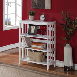 None - White Wood 4-tier Bookshelf Bookcase Display Cabinet - Stay organized with this 4-tier slat side designed shelf. Featuring a beautiful white finish, this elegant piece has ample amounts of storage for books, magazines and DVDs.
