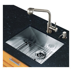 Vigo Industries - 23 in. Kitchen Sink and Faucet Set - Includes under mount kitchen sink, faucet, soap dispenser, matching bottom grid, sink strainer, all mounting hardware and hot-cold waterlines.