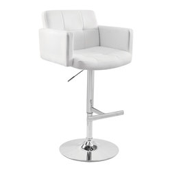 Lumisource - Stout Chrome Base Bar Stool w White Seat - 360 degree swivel. Oversized seating area. Adjustable height from counter to bar. Finish/Color: White. Material: Faux Leather, Chrome. Not for commercial use. Assembly Required. Dimensions: 23 in. L x 24 in. W x 45 in. H ( 35 lbs. ). Seat Height: Adjustable from 25 in. to 32 in.The Stout was designed with comfort in mind. The padded seat combined with the high back and armrest makes this stool great for relaxing. The stool is supported by a polished chrome base and pole which hydraulic adjusts the seat height from 25-32 inches. Get comfy and look great doing it!