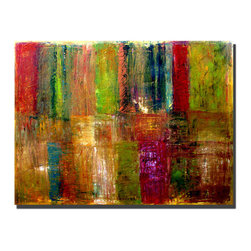 Trademark Art - Michelle Calkins Color Abstract - 35 x 47 Can - Gallery Wrapped Canvas Art. Canvas wraps around the sides and is secured to the back of the wooden frame. Frameless presentation of the finished painting. 35 in. L x 47 in. W x 2 in. D (10.8 lbs.)