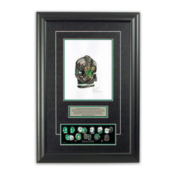 """Heritage Sports Art - Original art of the NHL 1992-93 Dallas Stars jersey - This beautifully framed piece features an original piece of watercolor artwork glass-framed in an attractive two inch wide black resin frame with a double mat. The outer dimensions of the framed piece are approximately 17"""" wide x 24.5"""" high, although the exact size will vary according to the size of the original piece of art. At the core of the framed piece is the actual piece of original artwork as painted by the artist on textured 100% rag, water-marked watercolor paper. In many cases the original artwork has handwritten notes in pencil from the artist. Simply put, this is beautiful, one-of-a-kind artwork. The outer mat is a rich textured black acid-free mat with a decorative inset white v-groove, while the inner mat is a complimentary colored acid-free mat reflecting one of the team's primary colors. The image of this framed piece shows the mat color that we use (Hunter Green). Beneath the artwork is a silver plate with black text describing the original artwork. The text for this piece will read: This original, one-of-a-kind watercolor painting of the 1992-93 Minnesota North Stars (now Dallas Stars) jersey is the original artwork that was used in the creation of this Dallas Stars uniform evolution print and tens of thousands of other Dallas Stars products that have been sold across North America. This original piece of art was painted by artist Nola McConnan for Maple Leaf Productions Ltd. Beneath the silver plate is a 3"""" x 9"""" reproduction of a well known, best-selling print that celebrates the history of the team. The print beautifully illustrates the chronological evolution of the team's uniform and shows you how the original art was used in the creation of this print. If you look closely, you will see that the print features the actual artwork being offered for sale. The piece is framed with an extremely high quality framing glass. We have used this glass style for many years with exc"""
