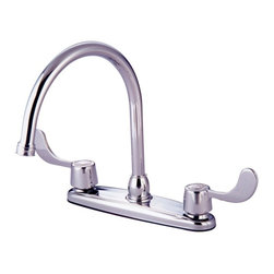 "Kingston Brass - Kingston Brass Polished Chrome Vista 8"" Kitchen Faucet With Blade Handles KB781 - This double handle kitchen faucet features an 8"" centerset setup and a goose neck spout that rotates 360 degrees for accessibility and convenience. The handles are ADA compliant and possess a 1/4-turn on/off water control mechanism for easy management of water volume and temperature; also includes a 2.2 GPM (8.3 LPM) 60 PSI max rate. Fabricated in solid brass for durability and reliance, we also provide an assortment of different finishes for stain, scratch and chipping resistance. A 10-year limited warranty is provided to the original customer.. Manufacturer: Kingston Brass. Model: KB781. UPC: 663370578106. Product Name: 8"" Kitchen Faucet With Blade Handles. Collection / Series: Vista. Finish: Polished Chrome. Theme: Generic. Material: Brass. Type: Faucet. Features: Goose Neck Swivel Spout"