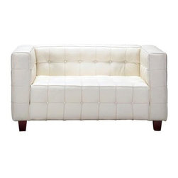 "Zuo - Zuo Button Collection White Leather Love Seat - A stylish mid-century look, the Button Collection love seat boasts a dramatically appealing geometric profile. Modern and plush, it features luxurious white Italian leather button-tufted upholstery and solid hardwood legs. White Italian leather. Sold hardwood legs. 55"" wide. 30"" deep. 28"" high. 17"" seat height. 23"" seat depth."