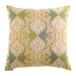 "Canaan - 24"" x 24"" Derrington Capri Damask Pattern Throw Pillow with Insert and Cover - Derrington Capri damask pattern throw pillow with a feather/down insert and zippered removable cover. These pillows feature a zippered removable 24"" x 24"" cover with a feather/down insert. Measures 24"" x 24"". These are custom made in the U.S.A and take 4-6 weeks lead time for production."