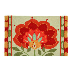 Homefires - Ikat Bloom Rug - A flower in full bloom with petals that look like Russian cupolas adorns this rug. The robust blossom dominates the ornate Sue Schlabach design, set in an autumn color scheme. Treat yourself to this extra-special floor covering, whip up some hearty soup and pour yourself a tall glass of merlot, this rug is cozy making!