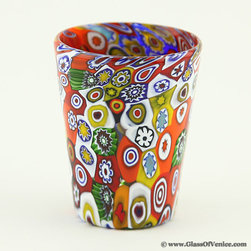 Murano Glasses & Barware - Serve your drinks in these one-of-a-kind Murano shot glasses and feel instantly transported into the beauty and opulence of Venice. These colorful meticulously handcrafted Millefiori shot glasses bring Italian tradition of entertaining in style into your dining room. Festive beauty of colorful millefiori mosaics give this glass a stylish, artistic, and elegant look. These glasses are great for spirits such as liquors, cognac, whiskey, vodka, sake, or any cordials. This hand-made gorgeous Venetian glass, or a set of them, also makes a uniquely appropriate luxurious gift for special occasions such as birthdays, weddings, or anniversaries. This authentic Murano shot glass was painstakingly created by hand using only traditional glass-making methods by one of the oldest Murano glassworks.