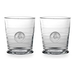 Berry and Thread Double Old Fashioned Gift Set - Honor an old friendship or celebrate a new partnership with the Berry and Thread Double Old Fashioned Gift Set, a pair of sturdy, attractive clear glass tumblers formed with a signature all-seasons motif.  Blending handsomely with any seasonal or thematic arrangement, these old-fashioned glasses have a sturdy feel that contributes to their durable attraction.