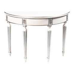 SOLD OUT! White Demi Lune Table with Silver Foil Accents - $4,500 Est. Retail -