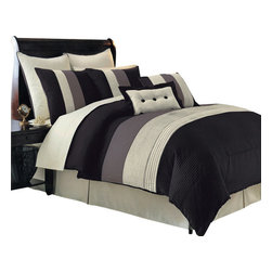 Bed Linens - Hudson Luxury 8-Piece Comforter Set California King-8PC-Set  Black - The Black Hudson 8-piece comforter set offers a modern, tailored look that creates an aura of calmness in any bedroom.