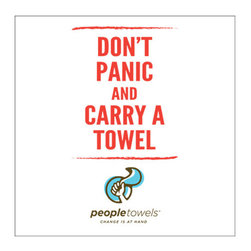"People Towels - PeopleTowels 2 Day Supply, Don't Panic - ""Don't panic and carry a towel."" Wise advice inspired by character Arthur Dent in Douglas Adams' classic work ""The Hitchhiker's Guide to the Galaxy"". Now you can enjoy this popular slogan printed with low-impact ink on this set of two organic cotton towels. Lightweight and ultra-absorbent, these towels are great for use at home and on the road, or use the hanger loop to create a playful display for your kitchen."