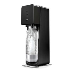 Soda Stream - SodaStream Source Metal Home Soda Maker Starter Kit, Black - Powered by a reusable CO2 canister, the refined mechanics of the all-new SodaStream Source make the entire top surface responsive to touch to quickly transform water into soda. An LED display indicates three levels of fizziness for precise carbonation with every use, while a new snap-lock bottle mechanism makes the Source even easier to use.