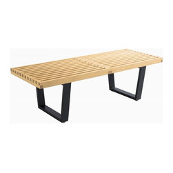 George Nelson - Wooden Slat Bench (Small in Natural) - Finish: Small in NaturalSolid wood top and birch legs. Durable and sturdy. Can be used either as a bench, a unique coffee table or a funky display rack. Black legs. Small: 48 in. W x 18.5 in. D x 14.5 in. H (24.2 lbs.). Large: 60 in. W x 18.5 in. D x 14.56 in. H (28.6 lbs.)The clean lines are a reflection of Nelson's background in architecture and contribute to the overall sleek feel of this gorgeous piece. The exquisite timber perfectly complements all interiors. For larger spaces, multiple benches can be placed side-by-side to create a seating or display feature.