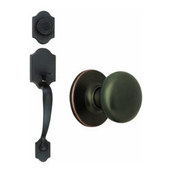 DHI-Corp - Sussex 2-Way Latch Entry Door Handle Set with Egg Knob, Handle and Keyway, Adjus - The Design House 753624 Sussex 2-Way Entry Handle Set features a lock handle in oil rubbed bronze. The interior flat ball know fits comfortably in your hand and the satin nickel finish blends with a variety of decor options, adding a touch of elegance to your decor. The scalloped handle set has a reversible handle for right or left hand doors and includes a radius and latch plate. It fits doors 1-3/8-inches to 1-3/4-inches thick. The 2-way latch is adjustable from 2-3/8-inches to 2-3/4-inches. This product is ANSI Grade-3 certified, which means this knob is rated for residential security. Design House 753624 Sussex 2-Way Entry Handle Set comes with a limited lifetime mechanical warranty and a 5-year finish warranty that protect against defects in material and workmanship. It is UL listed for use on fire doors to ensure the highest quality. Design House offers products in multiple home decor categories including lighting, ceiling fans, hardware and plumbing products. With years of hands-on experience, Design House understands every aspect of the home decor industry, and devotes itself to providing quality products across the home decor spectrum. Providing value to their customers, Design House uses industry leading merchandising solutions and innovative programs. Design House is committed to providing high quality products for your home improvement projects.