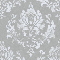 Wallpaper Worldwide - Forbes - Antique Damask Wallpaper, Dark Grey, Offwhite - Material: Non-woven.