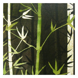 Bamboo Lines II Artwork - Monotype collage mounted on board By Linda Yoshizawa