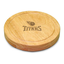 "Picnic Time - Tennessee Titans Circo Cheese Board in Natural Wood - The Circo by Picnic Time is so compact and convenient, you'll wonder how you ever got by without it! This 10.2"" (diameter) x 1.6"" circular chopping board is made of eco-friendly rubberwood, a hardwood known for its rich grain and durability. The board swivels open to reveal four stainless steel cheese tools with rubberwood handles. The tools include: 1 cheese cleaver (for crumbly cheeses), 1 cheese plane (for semi-hard to hard cheese slices), 1 fork-tipped cheese knife, and 1 hard cheese knife/spreader. The board has over 82 square inches of cutting surface and features recessed moat along the board's edge to catch cheese brine or juice from cut fruit. The Circo makes a thoughtful gift for any cheese connoisseur!; Decoration: Engraved; Includes: 1 cheese cleaver (for crumbly cheeses), 1 cheese plane (for semi-hard to hard cheese slices), 1 fork-tipped cheese knife, and 1 hard cheese knife/spreader"