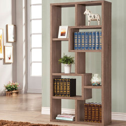 "Coaster - Bookshelf, Distressed Brown - This wall unit can be used to dress up any wall with the look of interlocking shelves, which provide storage and display space in different sized compartments. Finished in distressed brown.; Casual Style; Finish/Color: Distressed brown; Dimensions: 35""L x 11.75""W x 70.50""H"