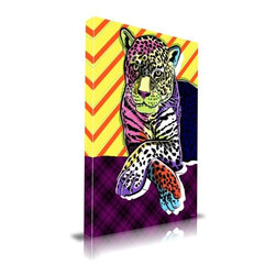 """Apt2B - Cat Colors' Print by Maxwell Dickson, 18"""" x 24"""" - A spotted leopard is set on a plaid surface against a striped background for an exciting mashup of patterns. This print's bold graphic style and bright mod colors give it a pop art feel that would look fresh among retro decor influences."""