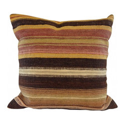 Vintage Kilim Pillow - Vintage brown, yellow and beige Turkish wool kilim pillow.  90/10 down fill - back cotton.