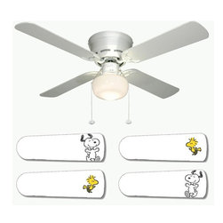 "Snoopy and Woodstock 42"" Ceiling Fan and Lamp - 42-inch 4-blade ceiling fan with a dome lamp kit that comes with custom blades. It has a white flushmount fan base. It has an energy efficient 3-speed reversible airflow motor for year long comfort. It comes with complete installation/assembly instructions. The blades can be cleaned with a damp cloth. It is made with eco-friendly/non-toxic products. This is brand new and shipped in the original box. This is not a licensed product, but is made with fully licensed products. Note: Fan comes with custom blades only."