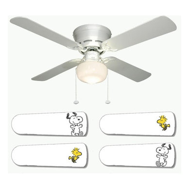 """Snoopy and Woodstock 42"""" Ceiling Fan and Lamp - 42-inch 4-blade ceiling fan with a dome lamp kit that comes with custom blades. It has a white flushmount fan base. It has an energy efficient 3-speed reversible airflow motor for year long comfort. It comes with complete installation/assembly instructions. The blades can be cleaned with a damp cloth. It is made with eco-friendly/non-toxic products. This is brand new and shipped in the original box. This is not a licensed product, but is made with fully licensed products. Note: Fan comes with custom blades only."""