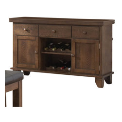 Homelegance - Homelegance Kirtland 52 Inch Server in Oak - The Homelegance Kirtland Server with accompanying Bench & Chairs is designed by the Kirtland collection ; the bench and chairs are able to comfortably seat family and friends, while the server unit is capable of containing 1 to 25 bottles of wine in the integrated wine rack storage. There is also an incorporated cutting/serving board, adjustable shelving and drawers within the server unit of the Kirtland Server.