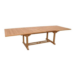 """Anderson Teak - Valencia Rectangular Double Extension Table - Unfinished - Now you can enjoy everyday family dining and always be ready for a larger crowd.  Standard rectangular table can easily accommodate six with end expansions that will create room for up to ten.  Top and frame are solid Indonesian teak. * Rectangular in shape. Seating capacity: 10 to 12. Can be extend with 1 or 2 leaves. With umbrella hole. Unique built-in butterfly pop-up leaf folds away for easy storage. Teak wood construction. Perfect for party family and friends gathering. Minimal assembly required. 79 in. - 117 in. L x 43 in. W x 29 in. H (130 lbs.)This solid Teak """"Valencia Rectangle Double Extension Table"""" makes the perfect addition to your patio or backyard. The unique built-in butterfly pop-up leaf enables you to open and close your table in less than 15 seconds."""