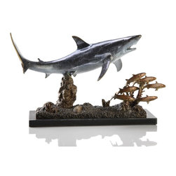 "SPI - Shark with Prey - -Size: 10"" H x 16"" W x 6"" D"